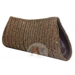 Brown Bead Work Clutch Bag