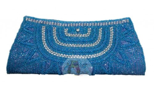 Decorated Blue Clutch Bag