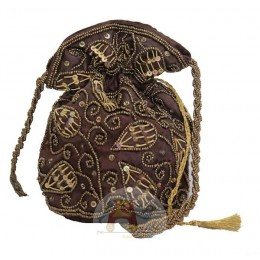 Brown Pouch with Golden Work