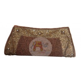 Brown Clutch Bag with Bead & Pattern