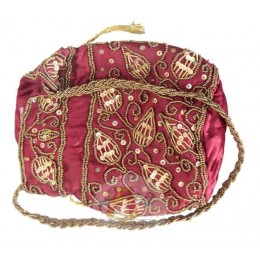 Maroon Pouch with Golden Work