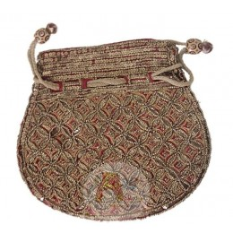 Golden Pattern Pouch - Red