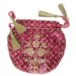 Pink Zari work Bag