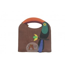 Colorful Bird Bag (Brown)
