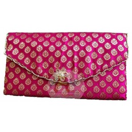 Pink floral Resham and Zari handbag