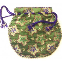 Green Potali Bag with Design