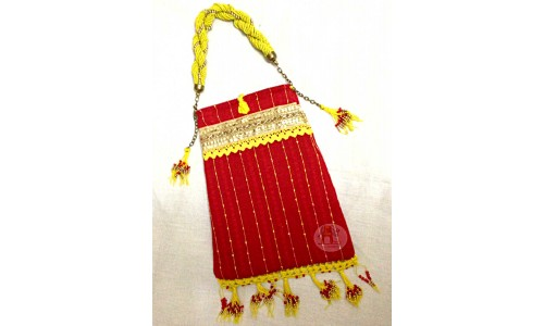 Handbag in Red with Yellow Hold