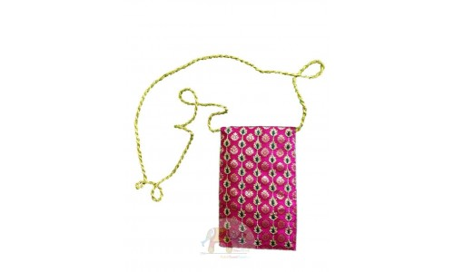 Pink Sling bag with Zari and Resham work