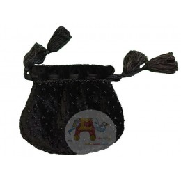 Black bead work potali bag