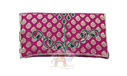 Pink Handbag with Green resham and Zari work