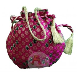 Pink floral Resham and Zari potali bag
