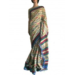 Cream Muti-Colour Printed Maheshwari