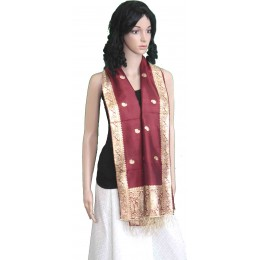 Maroon Colored Stole with Zari Work