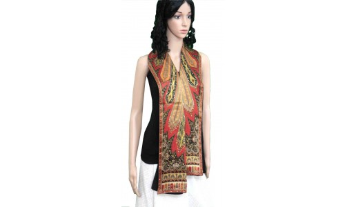Black Red Printed Colorful Pashmina Stole