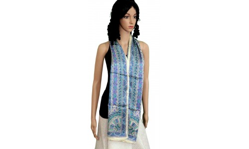 Blue Clored Stole with Paisley Designs