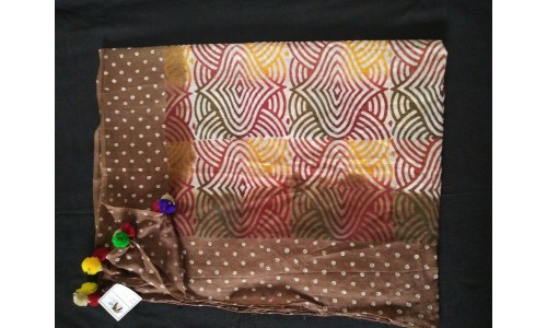 Multi Color Print Brown Border