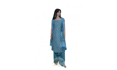Blue colored Unstiched Salwar Suit