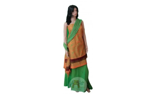 Orange & Green Worli art printed Unstiched Salwar Suit