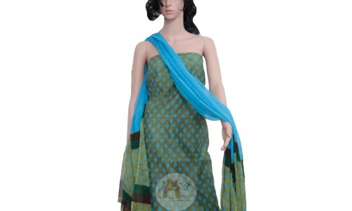 Green with blue colored blocks print Unstiched Salwar Suit