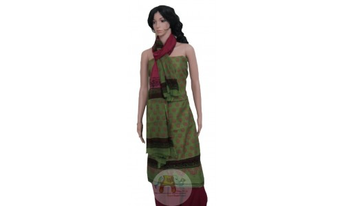 Green Maroon Unstiched Salwar Suit