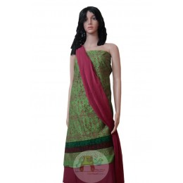 Green and Maroon Worli art printed Unstiched Salwar Suit
