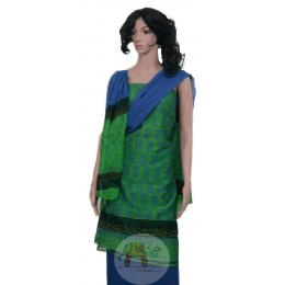 Blue Green Unstiched Salwar Suit