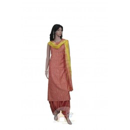 Orange and Yellow Unstiched Salwar Suit