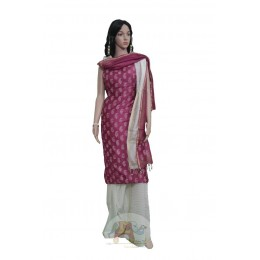 White and Maroon with Paisley Motifs Unstiched Salwar Suit