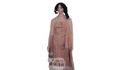 Brown Colored Unstiched Salwar Suit