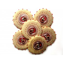 Glass Cover Set Golden Red (Set of 6)