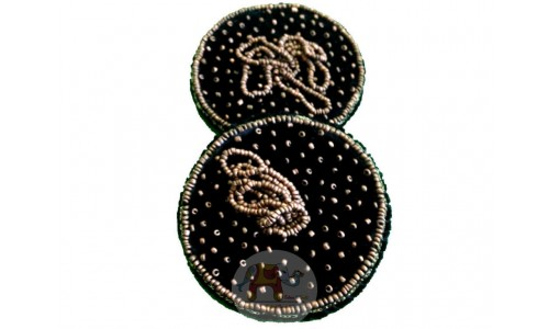 Black Glass cover with single beads work (Pair)
