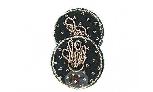 Black Glass cover with double beads work (Pair)
