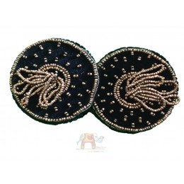 Black Glass cover with triple beads work (Pair)