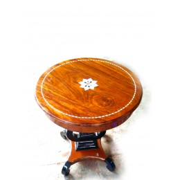 Wood Table with Engraved Shell Art