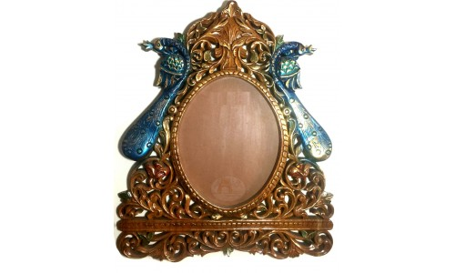 Large Blue-Gold Peacock Frame